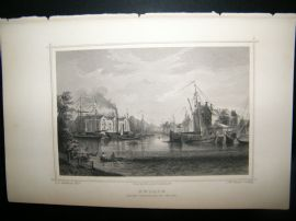 Holland Netherlands C1850's Antique Print. Zwolle, Boats
